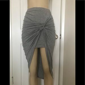 Iris Los Angeles Heather Grey Knotted Skirt Sz S